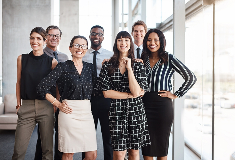 Diverse team of smiling employees